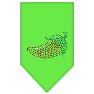 Chili Pepper Rhinestone Bandana Lime Green Large